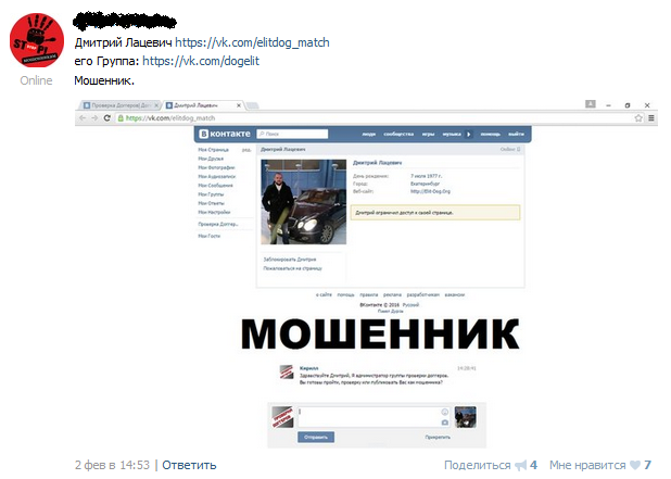 Отрицательный отзыв о мошеннике Дмитрие Лацевиче elit-dog.org №9