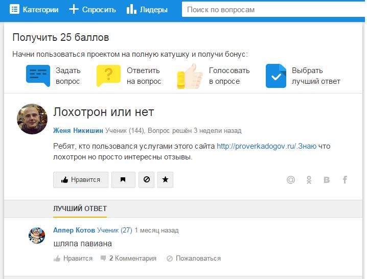 Отрицательный отзыв о мошенническом сайте proverkadogov.ru №1