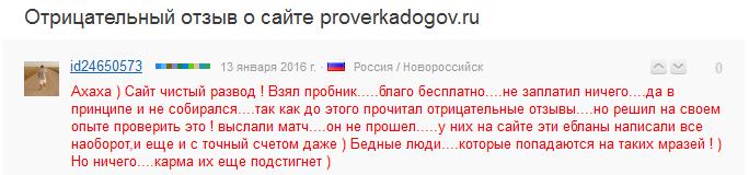Отрицательный отзыв о мошенническом сайте proverkadogov.ru №4