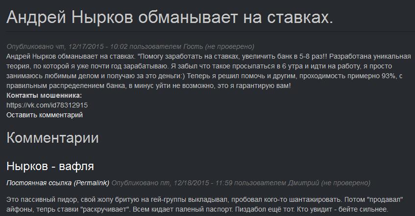 Отрицательный отзыв о мошеннике Андрее Ныркове MAFIFA №2